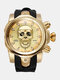 Large Dial Men Business Watch Ghost Head Skull Dial Silicone Band Waterproof Quartz Watch - Gold