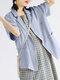 Einfarbiger Kurzarm-Umschlagkragen-Blazer für Damen - Blau
