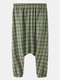 Mens Cotton Plaid Baggy Casual Elastic Waist Pants With Pocket - Green