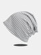 Women Cotton Knitted Horizontal Stripes Breathable All-match Beanie Hat - Light Gray