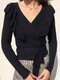 Solid Color V-neck Long Sleeve Ruffle Knotted Sweater for Women - Black