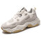 Men Synthetic Leather Fabric Splicing Breathable Sports Casual Sneakers - Beige