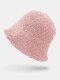 Women Lamb Wool Thick Plain Color Keep Warm Casual Fashion Sunvisor Bucket Hat - Pink