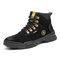 Men Suede Steel Toe Slip Resistant Anti-puncture Work Safety Boots - Black
