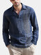 Plus Size Mens Plaid Casual Cotton Long Sleeve Golf Shirts - Blue
