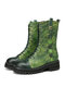 SOCOFY Natural Ginkgo Leaf Print Embossed Leather Comfy Wearable Casual Short Boots - Green