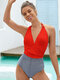 Women Pinstripe Patchwork Pleated String Halter One Piece Slimming Swimsuit - Red