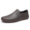 Men Cowhide Leather Driving Loafers Slip On Hand Stitching Causal Shoes - Gray