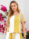 Multi-Striped Patchwork Casual O-neck T-shirt for Women - Yellow