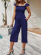 Solid Color Ruffle Strap Sleeveless Casual Jumpsuit With Pocket - Navy