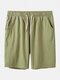 Men Solid Colors Cozy Bottoms  Drawstring Loose Knee Length Sport Casual Jersey Shorts - Green