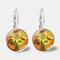 Vintage Geometric Round Oil Painting Series Earrings Metal Glass Gem Daisy Pendant Ear Clips - 5
