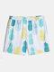 Mens Pineapple Print Elastic Waist Beach Swim Trunk - White