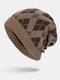 मेन विंटर Plus वेलवेट जियोमेट्रिक पैटर्न आउटडोर लंबे बुना हुआ गर्म बेनी टोपी - हाकी
