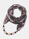 Vintage Chiffon Women Scarf Necklace Beaded Pendant Lattice Flowers Pattern Silk Scarf - #15
