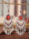 Ethnic Bohemia Vintage Drop-shape Alloy Chinese Style Earrings - Red