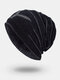 Men Winter Plus Velvet Letter Striped Pattern Outdoor Knitted Warm Beanie Hat - Black