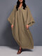 Casual Solid Color V-neck Bell Sleeve Maxi Dress - Khaki