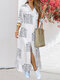 Casual Printed Turn-down Collar Chest Pockets Button Long Sleeve Shirt Dress - White