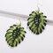 Bohemian Coconut Leaf Small Fresh Earrings 18k Gold Plated Pearl Pendant Earring - Green