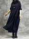 Solid Color Plush Patchwork Turtleneck Long Sleeve Dress - Navy
