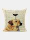 Animal Head Wine Glass Pattern Linen Cushion Cover Home Sofa Art Decor Throw Pillowcase - #20