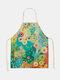 木と鳥の絵のパターンのクリーニングColorfulエプロン家庭料理キッチンエプロンクックウェアコットンリネン大人のよだれかけ - #05