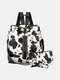 Stylish Cow Leopard Print Multi-Carry Waterproof Breathable Comfy Fabric Load-bearing Backpack With Clutch Wallet - #04