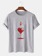 Mens Ace Of Hearts Poker Graphic Street 100% Cotton Short Sleeve T-Shirts - Gray
