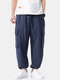 Mens Linen Solid Color Loose Casual Drawstring Cuff Cargo Pants - Navy