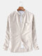 Mens Cotton Striped Vintage Breathable Loose Fit Long Sleeve Fashion Casual Shirt - Beige