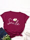 Cartoon Daisy Floral Letter Print O-neck Short Sleeve T-shirt For Women - Wine Red