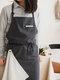 مريلة مطبخ من القطن والكتان للمسح اليدوي على الطراز الاسكندنافي اللون مريلة خبز بالزهور - الرمادي الداكن