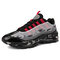 Men Sports Fabric Mesh Comfy Breathable Casual Chunky Sneakers - Black Red