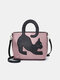 Women Cat Pattern Handbag Crossbody Bag - Pink