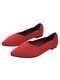 Women Comfy Chevron Knitted Pointed Toe Ballet Shoes Soft Sole Slip On Flats - Red