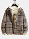 Mens Wool Blends Fashion Plaid Long Sleeve Woolen Jackets Coats - Brown