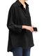 Lapel Solid Color Casual Plus Size Blouse for Women - Black
