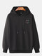 Mens Reflective Smile Face Print Cotton Casual Drawstring Pullover Hoodies - Black