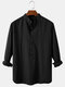 Mens Solid Color Cotton Breathable Casual Long Sleeve Henley Shirts - Black
