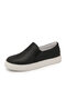 Large Size Women Solid Color Round Toe Comfy Slip On Casual Flat Shoes - Black