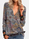 Vintage Printed Long Sleeve V-neck Zip Front T-shirt For Women - Purple