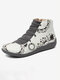Christmas Pattern Comfort Splicing Zipper Ankle Casual Boots For Women - Gray