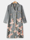 Plus Size Women Crane Pattern Ethnic Style Faux Silk Long Sleeve Home Robes - Gray