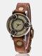 Vintage Thin Band Women Wrist Watch Three Roses Hollow Dial Quartz Watch - Coffee