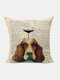 Animal Head Wine Glass Pattern Linen Cushion Cover Home Sofa Art Decor Throw Pillowcase - #23