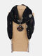 Vintage Chiffon Tassel Women Scarf Necklace Geometric Pendant Flower Leaf Pattern Shawl Necklace - #03