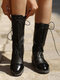 Large Size Women Lace Up Block Heel Mid Calf Riding Boots - Black
