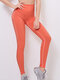 Women Quick Dry Solid Stretch Sports Yoga Breathable Skinny Fit Pants - Orange