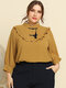 Solid Color Stand Collar Lantern Sleeve Plus Size Ruffle Blouse for Women - Yellow